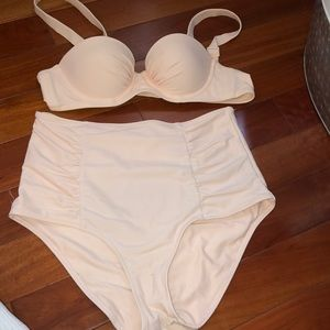 Worn pink aerie high wasted bikini